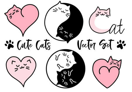 Cute cats yin yang sign, heart symbol, set of vector design elements Banco de Imagens - 104709052
