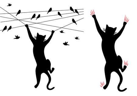 cat climbing on wall with scratches, hanging on wire with birds, vector illustration Ilustracja