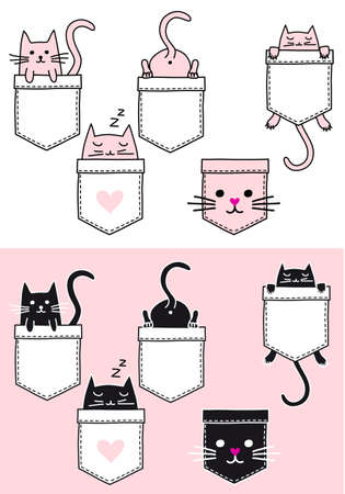 Cute baby cat sitting in a pocket, vector doodle, set of graphic design elements