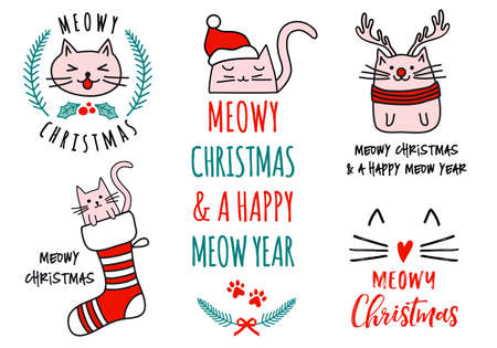 Meowy Christmas with cute cats, hand drawn doodle, set of vector design elements