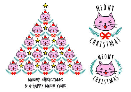 Christmas tree with cat faces, cute kawaii vector illustration for Christmas cards Banco de Imagens - 110097029