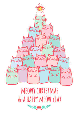 Christmas card with cute kawaii cats, meowy Christmas, vector doodle drawing Ilustracja
