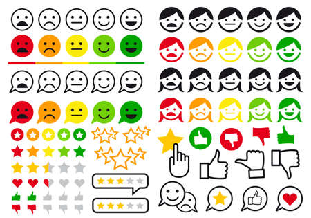 Rating, review, feedback flat icons, like and dislike buttons, user emoji for website and online shop, set of vector design elements Ilustracja