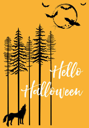Halloween background with trees, howling wolf, moon and flying bats, vector illustration Banco de Imagens - 109808540