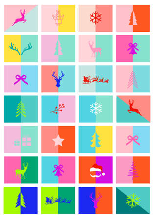 Christmas cards, advent calendar, 28 modern colorful layout templates, set of vector graphic design elements