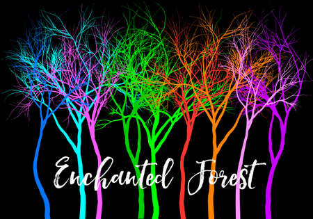 Enchanted mystery forest with bright colorful trees, vector illustration over black background Ilustracja
