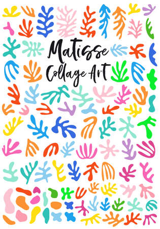 Matisse style colllage art, abstract floral cutout shapes, set of vector graphic design elements