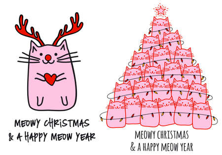 Christmas cat tree, red nosed Rudolph cat for Christmas card, vector design elements Ilustracja