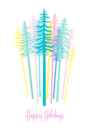Modern Christmas card with pastel colored fir tree forest, vector illustration