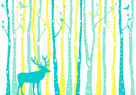Teal and yellow birch tree forest with reindeer, vector background illustration