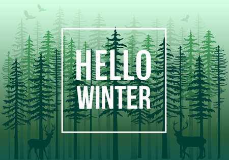 Green winter forest with fir trees, deer and birds, vector background illustration Ilustracja