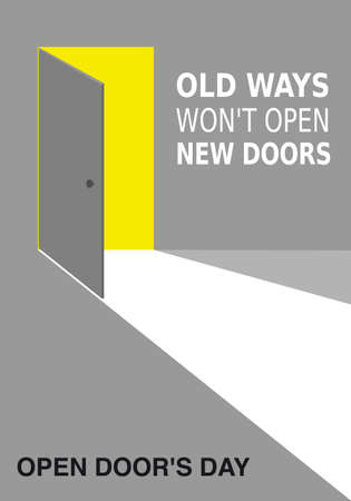 open door with light, future success business concept with quote, vector background, poster layout template