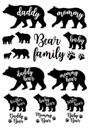 Daddy bear, mommy bear, baby, bear family silhouettes, Mother's day, Father's day, set of vector graphic design elements