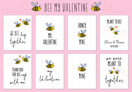 Valentines day cards with cute bee and quotes, set of vector design elements