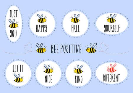Autocollants de motivation avec des citations, soyez heureux, soyez libre, soyez vous-même, soyez gentil, soyez différent, ensemble d'éléments de conception graphique vectorielle
