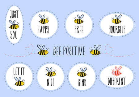 Motivational stickers with quotes, be happy, be free, be yourself, be kind, be different, set of vector graphic design elements