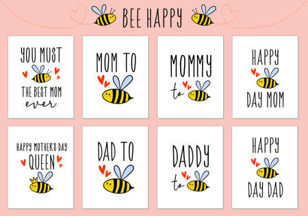 Mothers day, Fathers day, birthday cards with cute bee, set of vector design elements