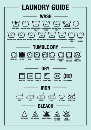 laundry guide art print and care signs, textile washing symbols for tags, labels, set of vector graphic design elements