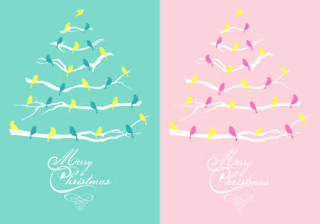 Pink and teal Christmas cards with trees and birds, vector set Ilustracja