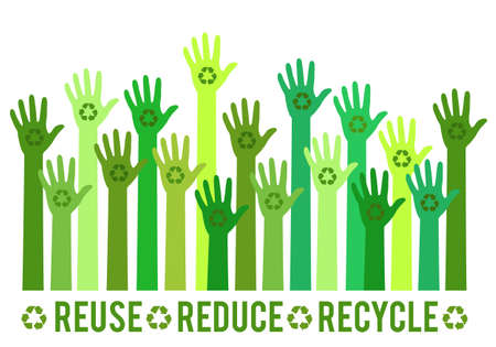 Human hands with green recycle sign, recycling symbol, vector set