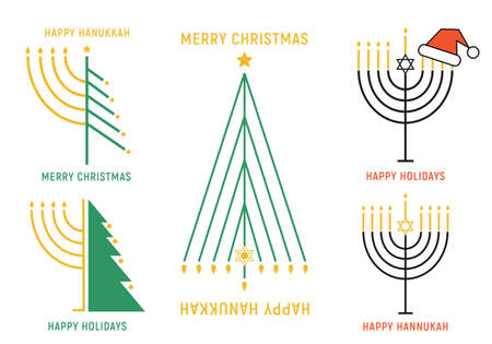 Christmas and Hanukkah cards with trees and menorah, set of vector graphic design elements