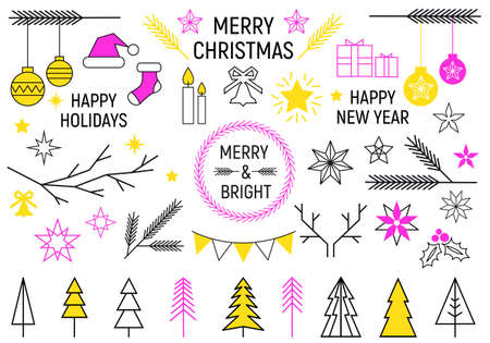 Simple modern Christmas line icons, set of vector graphic design elements