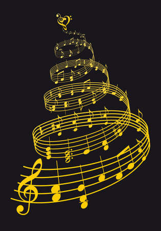 Gold Christmas tree with music notes over black background, vector illustration Ilustracja