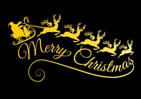 Golden Santa with his sleigh and reindeer, vector illustration für Christmas cards Illustration
