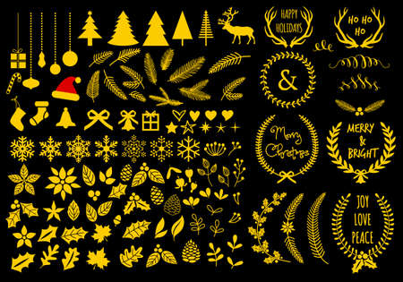 Gold Christmas set with flowers, laurel wreath, snowflakes and antlers, vector design elements
