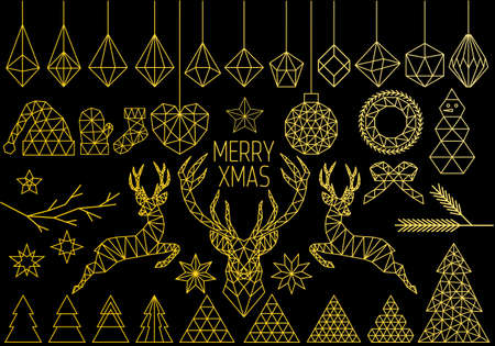 Gold geometric Christmas set, polygon reindeer, abstract low poly vector design elements