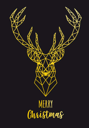 Christmas card with gold geometric reindeer head, vector illustration Ilustracja