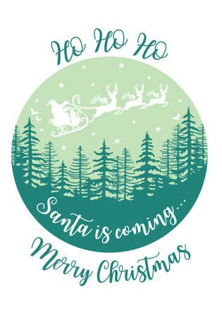 Santa Claus flying over winter forest with reindeer and sleight, vector Christmas card