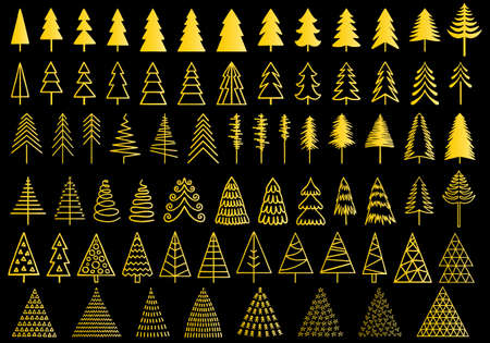 72 Christmas gold trees for modern cards, set of vector design elements
