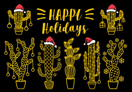 Christmas cacti, cacteen trees with Santa hat and decoration, set of gold vector design elements