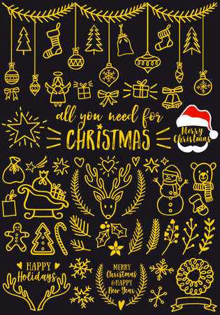 Gold Christmas doodles for cards, banners, set of vector design elements