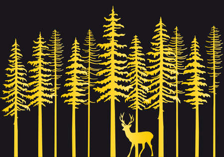 Gold fir tree forest with reindeer, vector illustration
