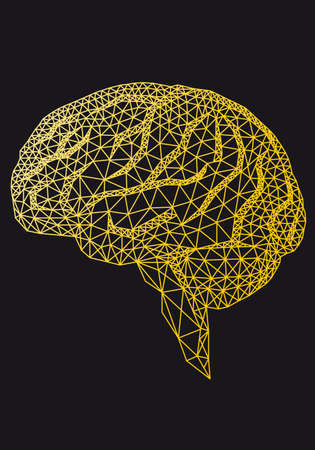 Gold human brain with geometric pattern, vector illustration Banco de Imagens - 135751396