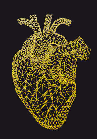 Gold human heart with geometric pattern, vector illustration Ilustracja