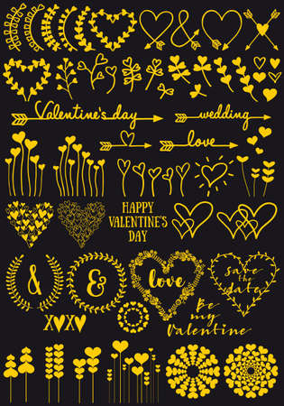 Gold heart flowers, set of hand drawn vector design elements for Valentines day card, wedding invitation