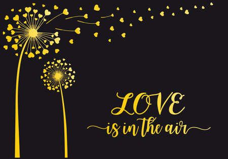 Gold dandelion flower with flying hearts, vector illustration for Valentines day card, wedding invitation