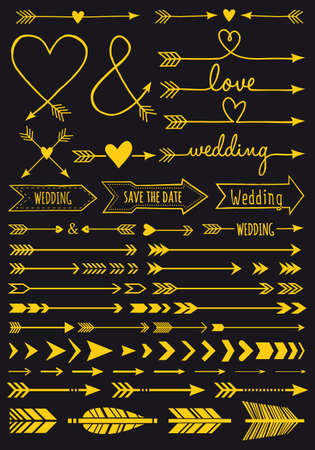 Gold arrows, set of vector design elements for Valentines day cards, wedding invitations Ilustracja
