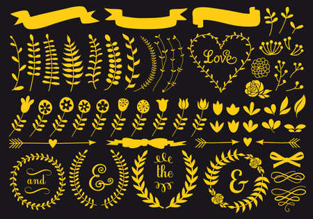 Gold floral vector elements, wreath, banners for Valentines day card, wedding invitation