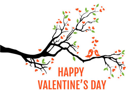 Tree branch with hearts, leaves and love birds, vector illustration for Valentines day cards, wedding invitation