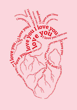 Pink human heart with I love you text, vector illustration for Valentines day cards