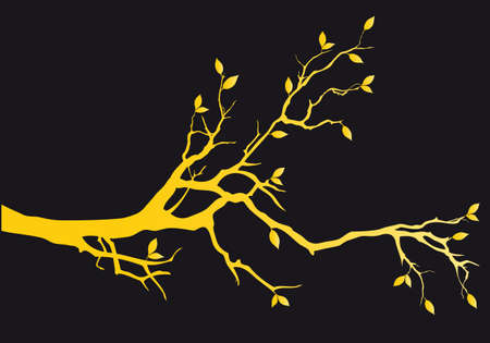 Gold tree branch with leaves, vector illustration over black background Ilustracja