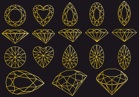 Diamond cut, gold line art vector illustration over black background