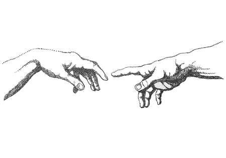 The Creation of Adam after Michelangelo, vector hands, illustration Illusztráció