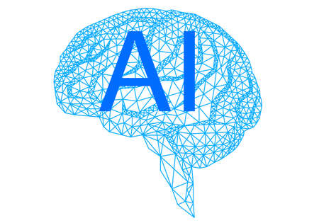 Artificial intelligence, geometric human brain, vector illustration on white background