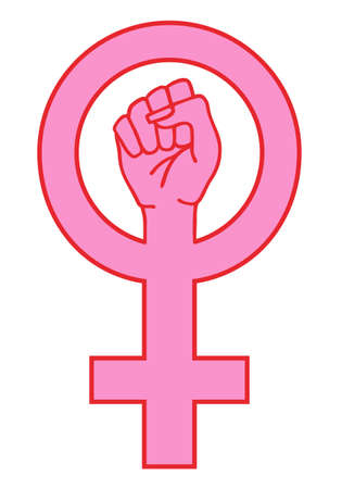 Pink female sign with fighting hand, vector illustration