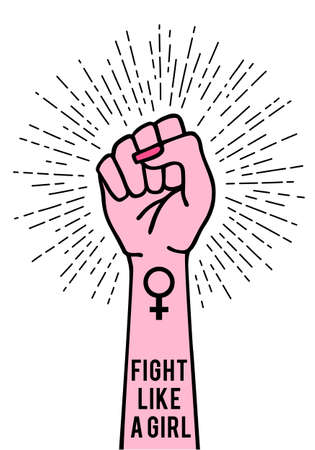 Female hand with female sign and burst, fight like a girl, vector illustration